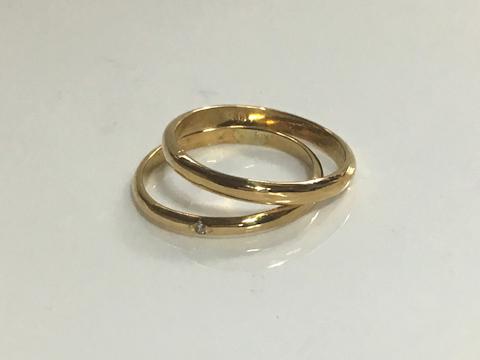 甲丸リング ゴールドの指輪after