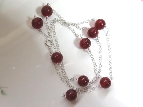 赤珠ロングネックレスafter