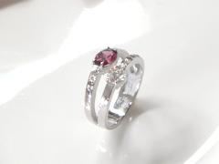 ダイヤモンドとガーネットのリングafter
