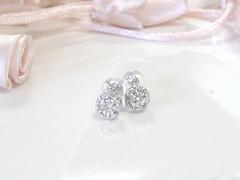 ダイヤモンドの一粒ピアスafter