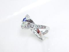 ダイヤモンドとサファイアのリングafter