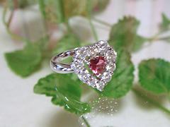 ピンクトルマリンとダイヤモンドの指輪after