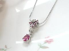 ピンクトルマリンとダイヤモンドのペンダントafter