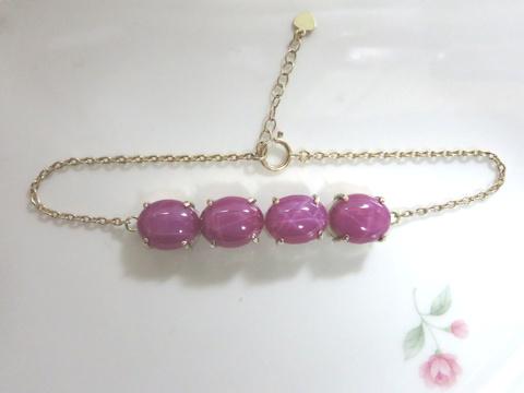 ピンク色石ブレスレットafter