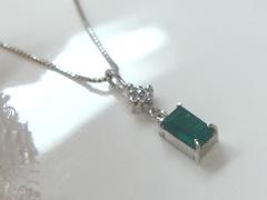 エメラルドとダイヤモンドのペンダントafter