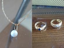 パールとサファイアとダイヤの片耳ピアスbefore