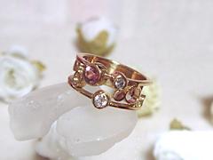 ダイヤモンドとピンクトルマリンの指輪after
